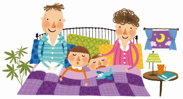 Painting-cartoon-family-in bed